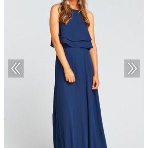 ddd2910951 Princess Di Maxi Dress and Top~ Rich Navy Crisp
